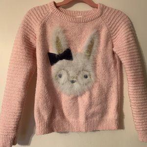 Cat &Jack Girls Long Sleeve Bunny Graphic Sweater